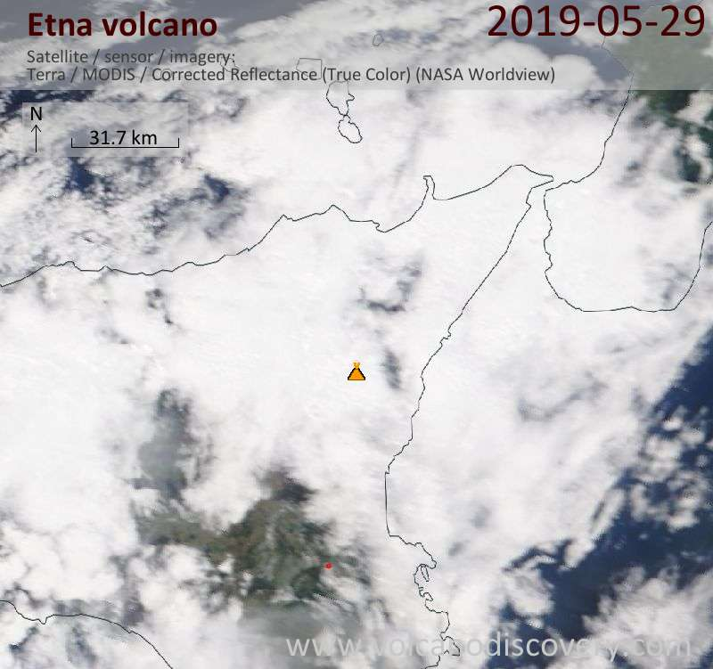 Satellite image of Etna volcano on 30 May 2019