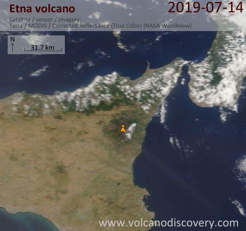 Satellitenbild des Etna Vulkans am 14 Jul 2019