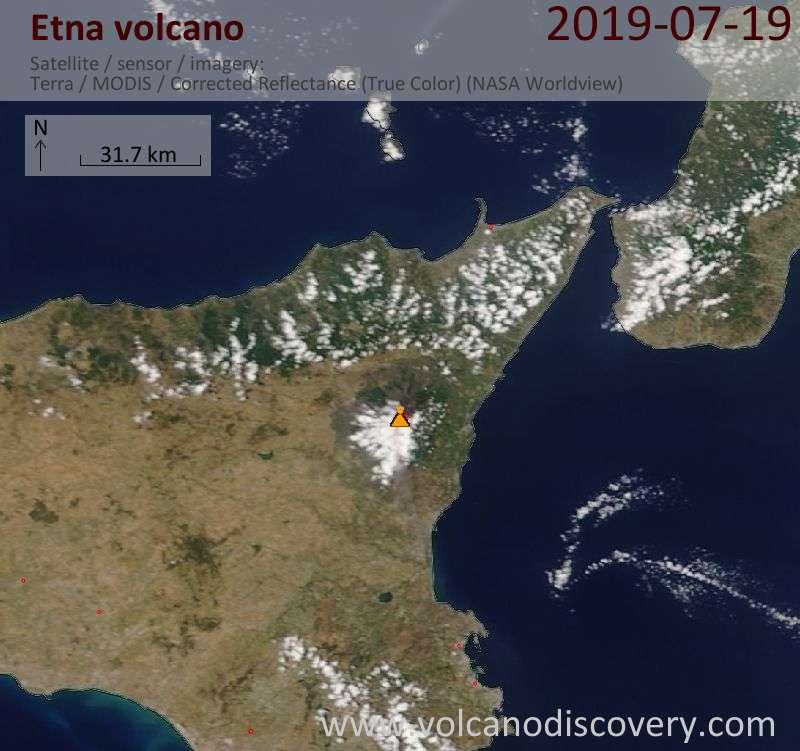 Satellite image of Etna volcano on 19 Jul 2019