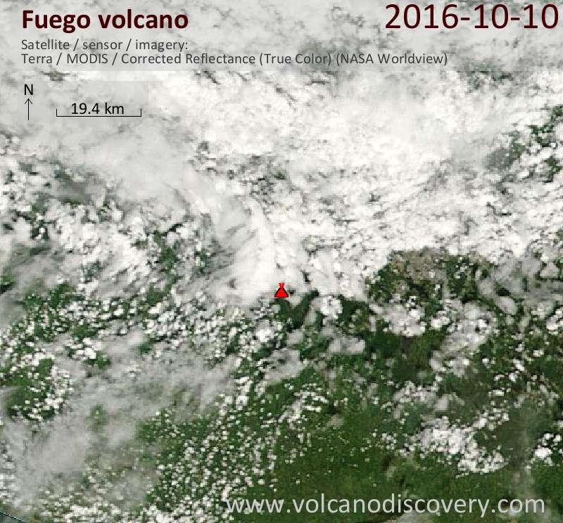 Satellite image of Fuego volcano on 10 Oct 2016