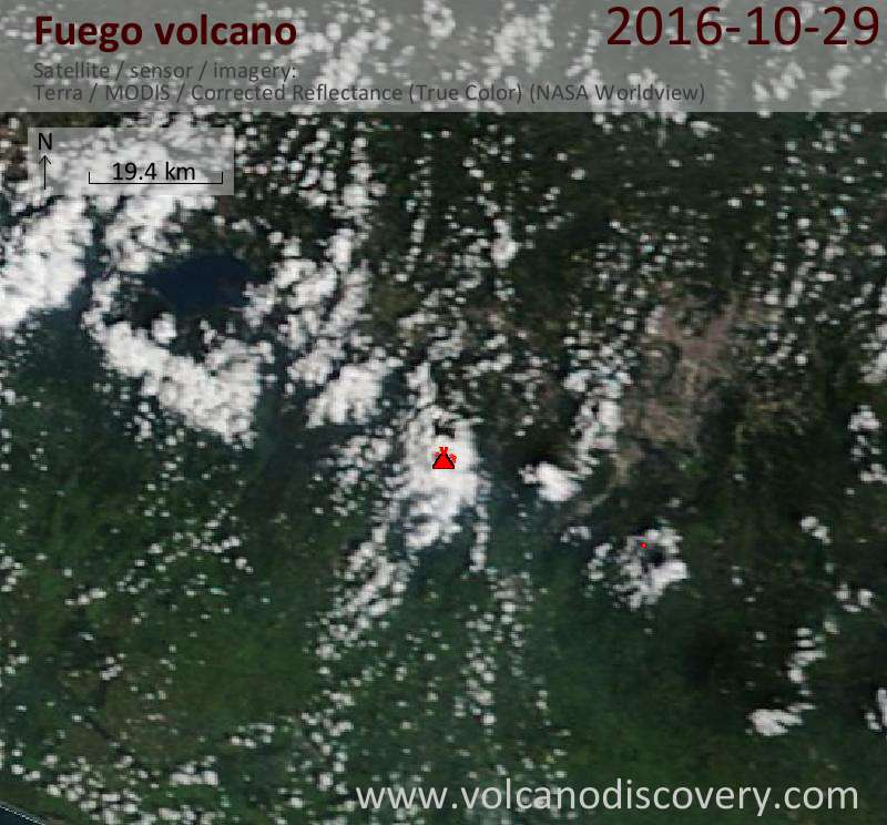Satellite image of Fuego volcano on 29 Oct 2016