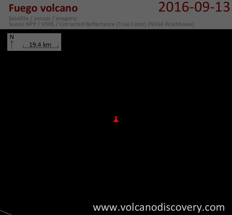 Satellite image of Fuego volcano on 13 Sep 2016