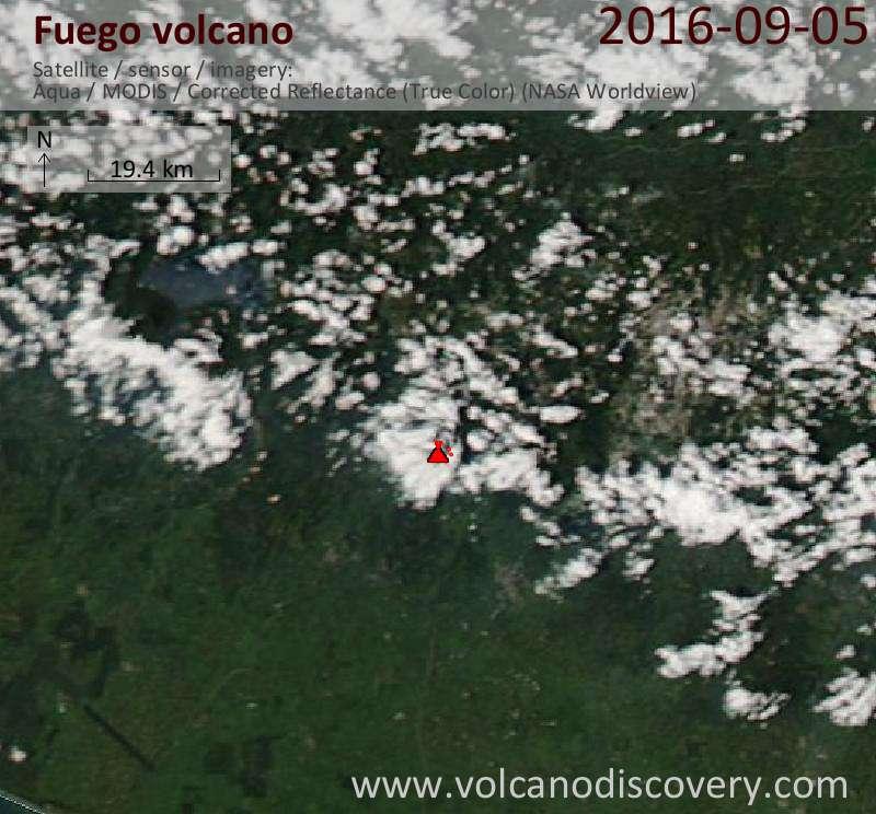 Satellite image of Fuego volcano on  5 Sep 2016