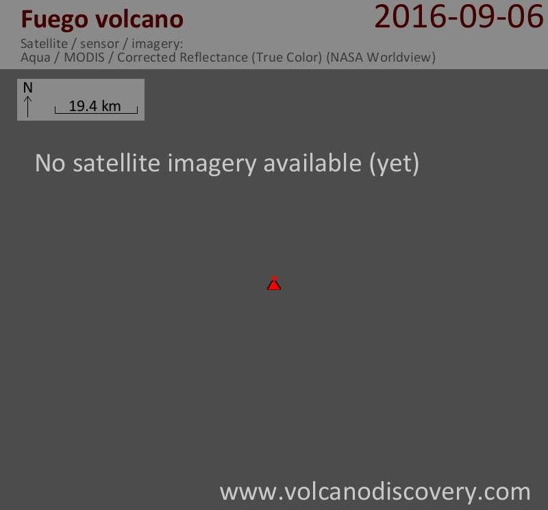 Satellite image of Fuego volcano on  6 Sep 2016