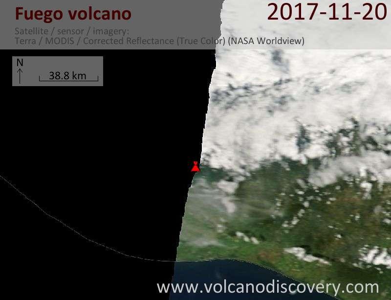 Satellite image of Fuego volcano on 20 Nov 2017