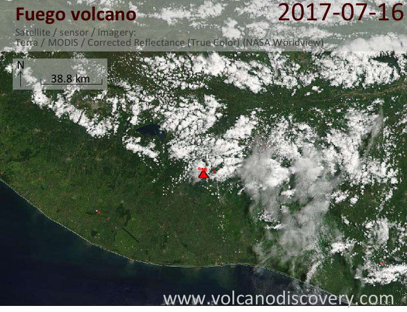 Satellite image of Fuego volcano on 17 Jul 2017