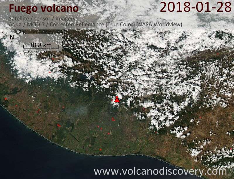 Satellite image of Fuego volcano on 28 Jan 2018