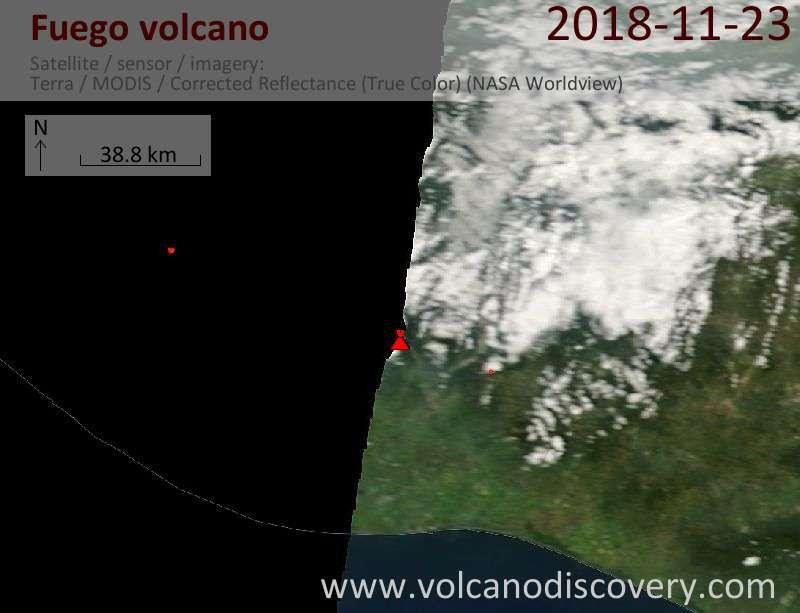 Satellite image of Fuego volcano on 23 Nov 2018
