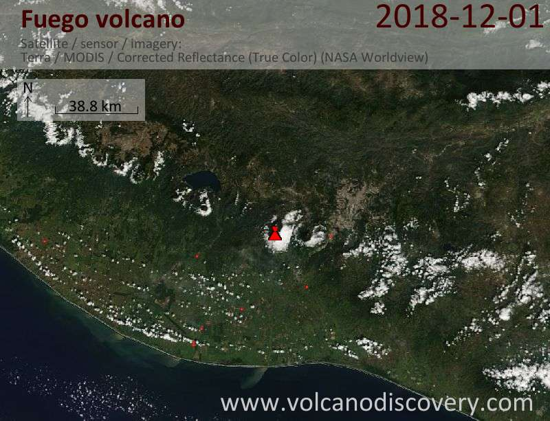 Satellite image of Fuego volcano on  1 Dec 2018