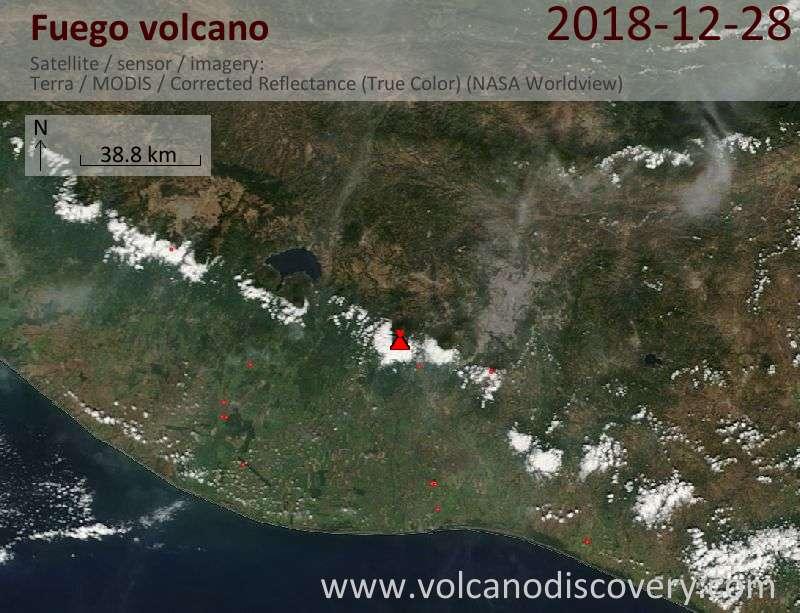 Satellite image of Fuego volcano on 28 Dec 2018