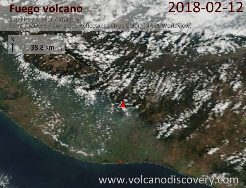 Satellite image of Fuego volcano on 12 Feb 2018