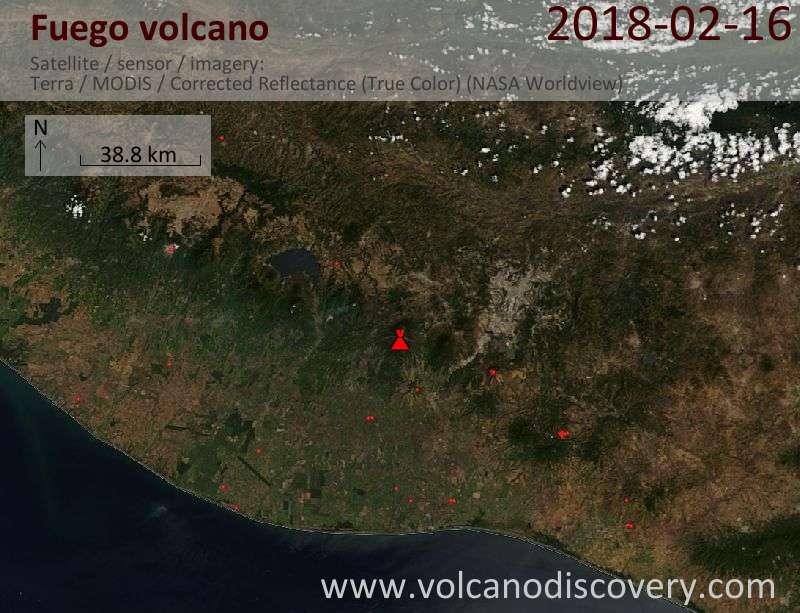 Satellite image of Fuego volcano on 16 Feb 2018