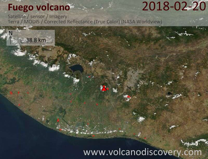 Satellite image of Fuego volcano on 20 Feb 2018