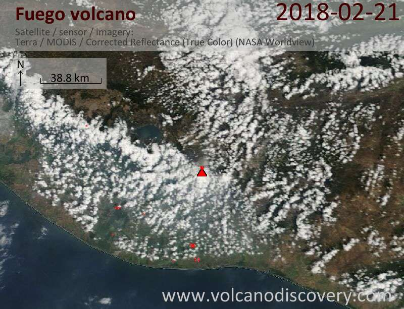 Satellite image of Fuego volcano on 21 Feb 2018