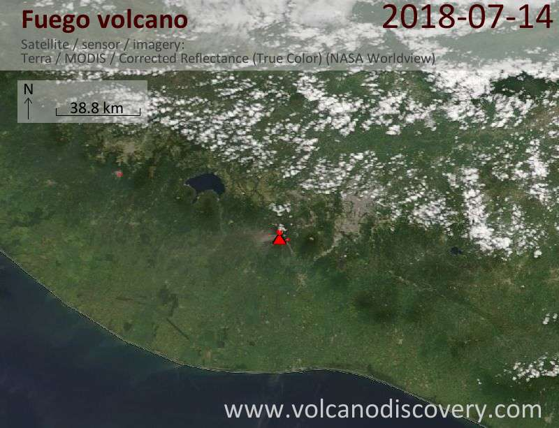 Satellite image of Fuego volcano on 14 Jul 2018
