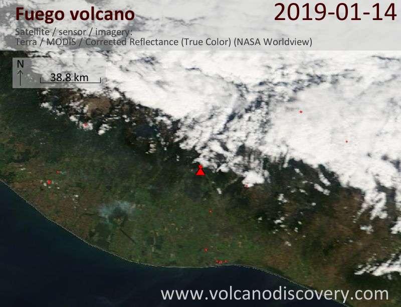 Satellite image of Fuego volcano on 14 Jan 2019