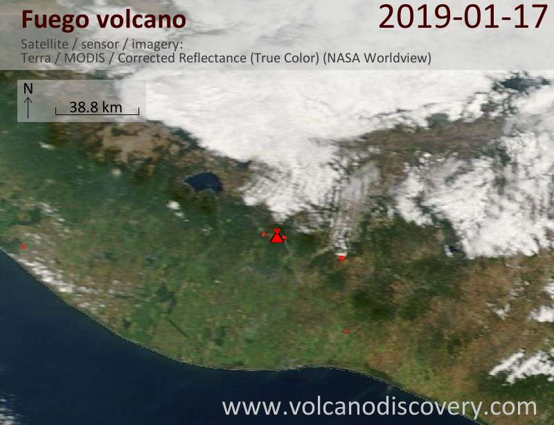 Satellite image of Fuego volcano on 17 Jan 2019