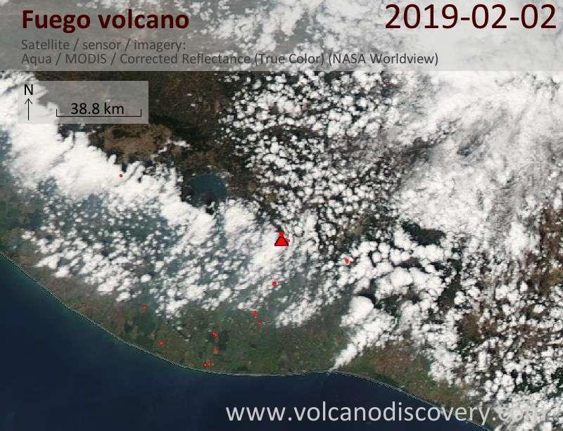 Satellite image of Fuego volcano on  2 Feb 2019