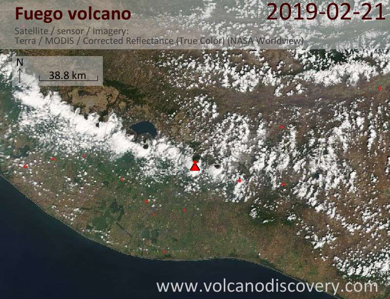 Satellitenbild des Fuego Vulkans am 22 Feb 2019