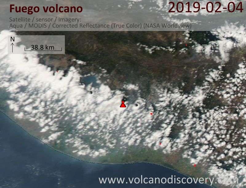 Satellite image of Fuego volcano on  4 Feb 2019