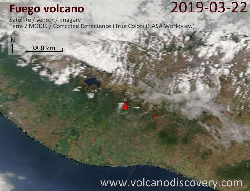 Satellite image of Fuego volcano on 22 Mar 2019