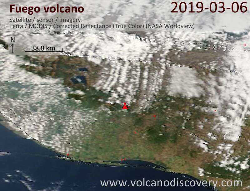 Satellite image of Fuego volcano on  7 Mar 2019