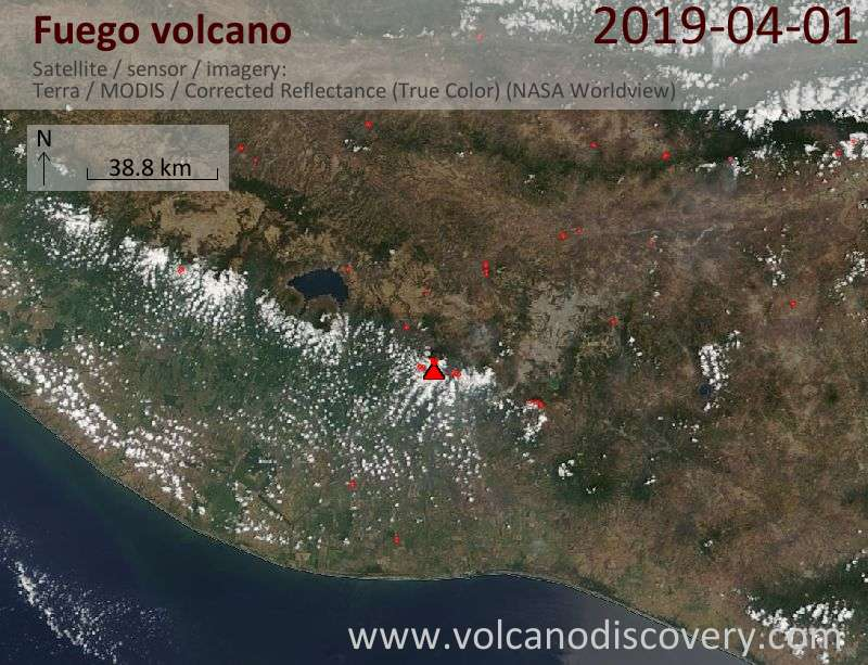 Satellite image of Fuego volcano on  1 Apr 2019