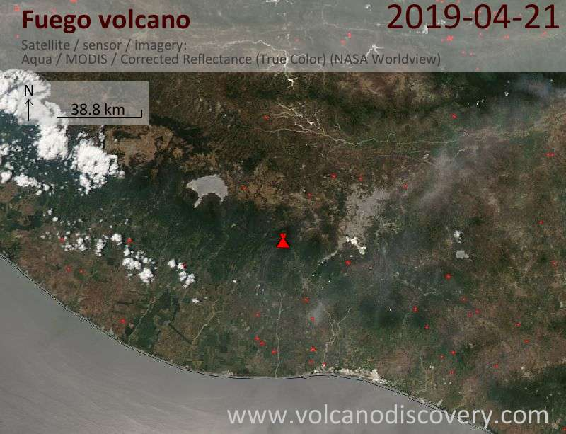 Satellite image of Fuego volcano on 21 Apr 2019
