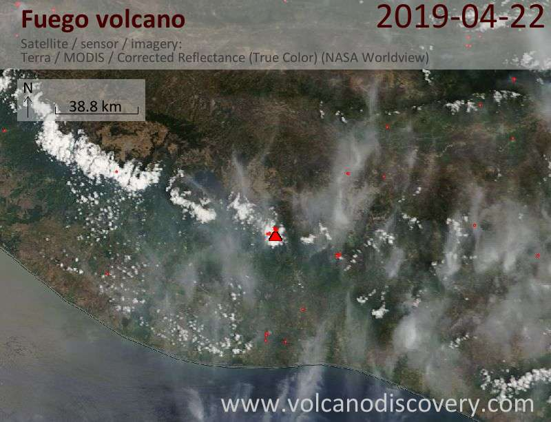 Satellitenbild des Fuego Vulkans am 22 Apr 2019