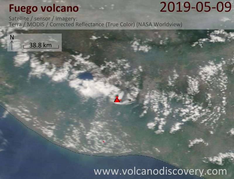 Satellite image of Fuego volcano on  9 May 2019