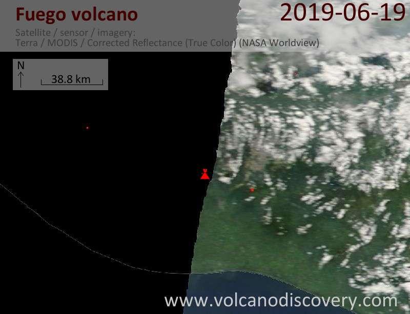 Satellite image of Fuego volcano on 19 Jun 2019