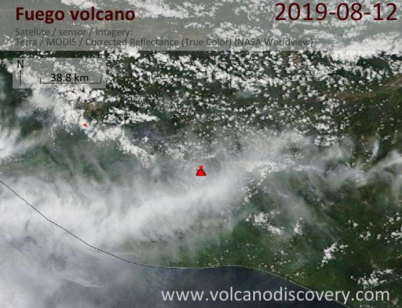 Satellite image of Fuego volcano on 12 Aug 2019