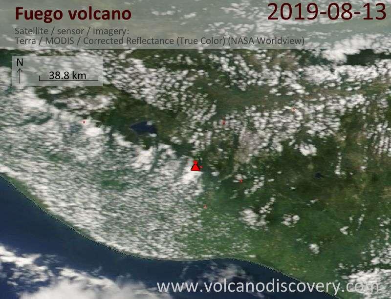 Satellite image of Fuego volcano on 13 Aug 2019