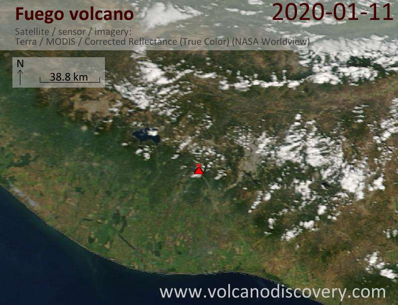 Satellite image of Fuego volcano on 11 Jan 2020