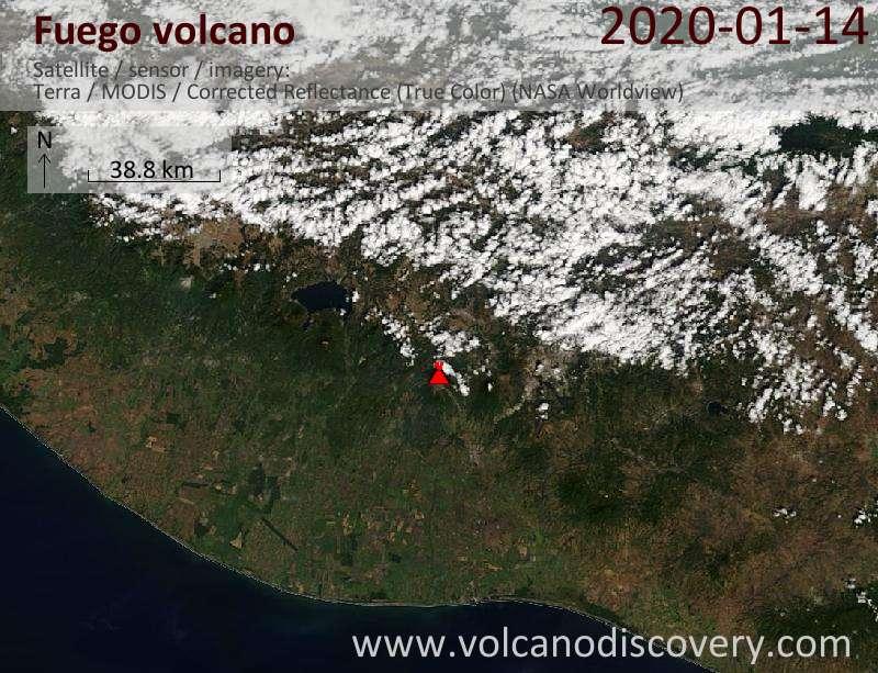 Satellite image of Fuego volcano on 14 Jan 2020