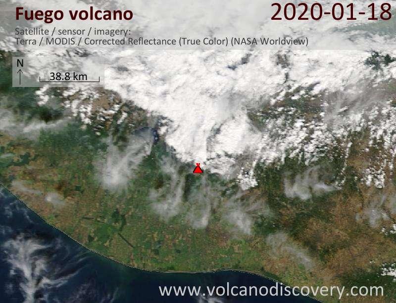 Satellitenbild des Fuego Vulkans am 18 Jan 2020
