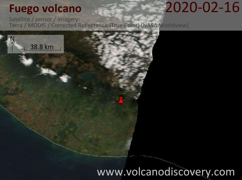 Спутниковое изображение вулкана Fuego 16 Feb 2020
