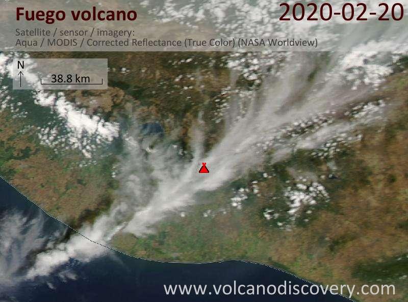 Спутниковое изображение вулкана Fuego 21 Feb 2020
