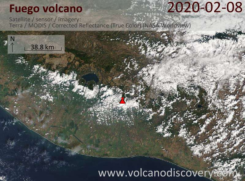 Satellite image of Fuego volcano on  8 Feb 2020
