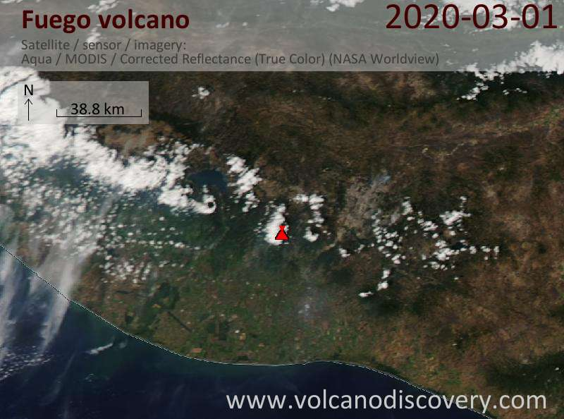 Satellite image of Fuego volcano on  2 Mar 2020
