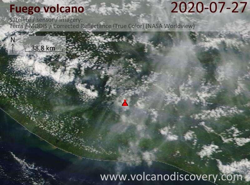 Satellite image of Fuego volcano on 27 Jul 2020