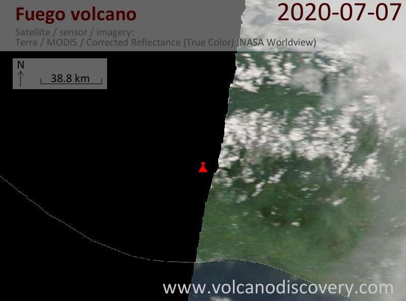 Satellite image of Fuego volcano on  7 Jul 2020