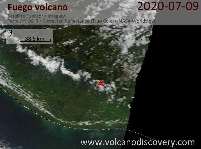 Satellite image of Fuego volcano on  9 Jul 2020