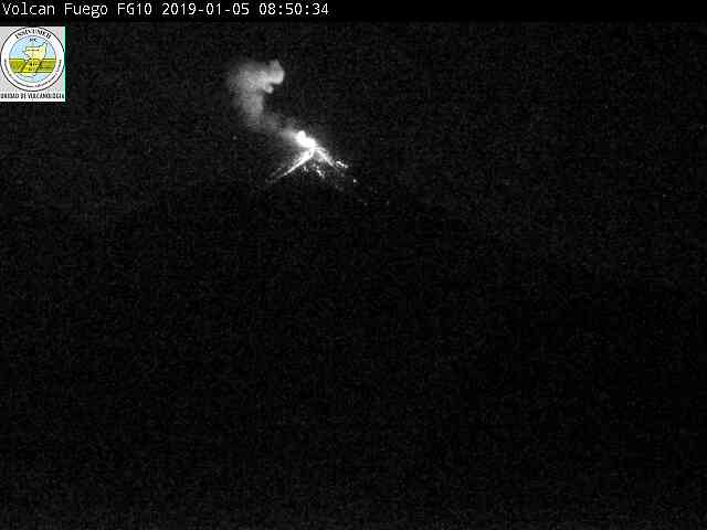 Glowing avalanches at Fuego volcano this morning (image: INSIVUMEH webcam)