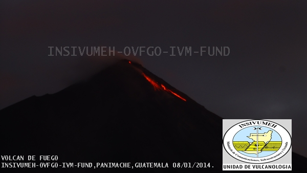 The lava flows on Fuego volcano this morning