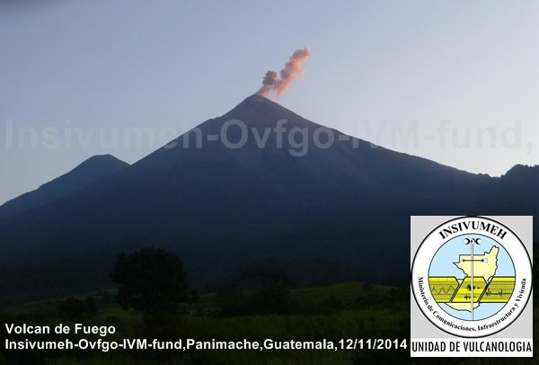 Ash plume from an explosion at Fuego on 12 Nov (INSIVUMEH webcam)
