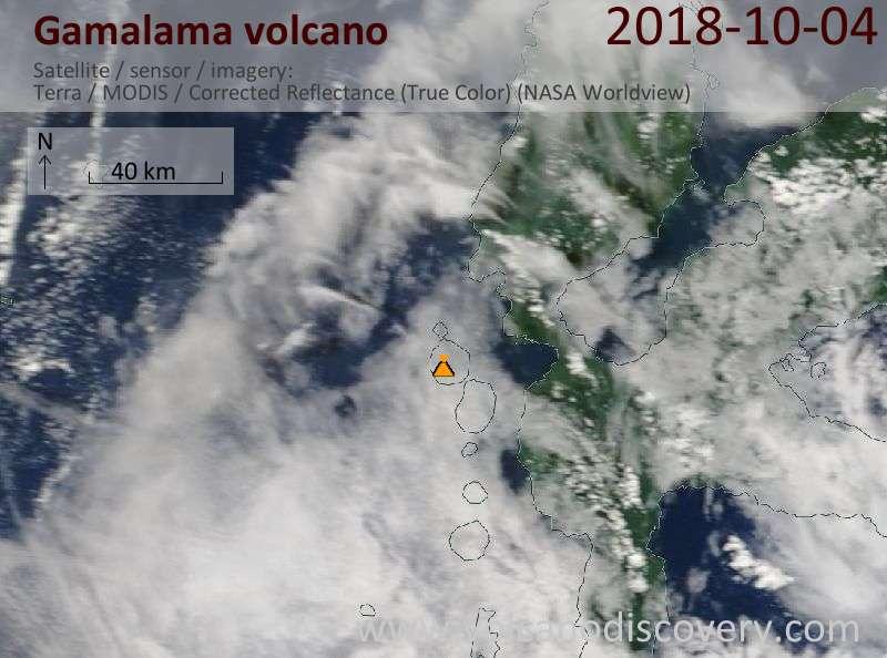 Satellite image of Gamalama volcano on  4 Oct 2018