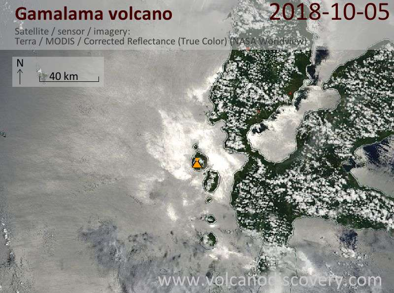Satellite image of Gamalama volcano on  5 Oct 2018
