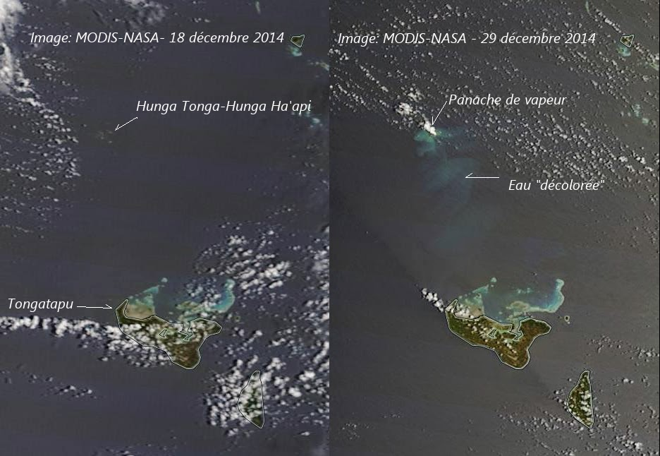 Comparison of satellite images of the area of Hunga Tonga-Hunga volcano from 18 and 29 Dec 2014, showing the plume from underwater activity on the latter (images: NASA / annotations: Culture Volcan)