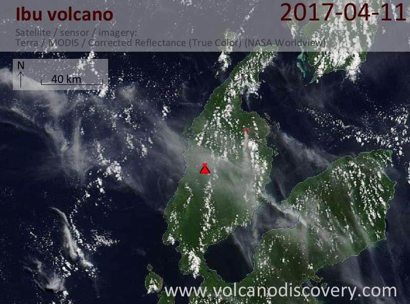 Satellite image of Ibu volcano on 12 Apr 2017